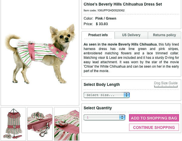 shop for cheap dog clothing and buy your very own chloe's beverly hills chihuahua dress!