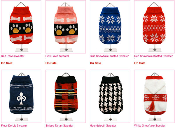 click here to shop for dog sweaters on sale!