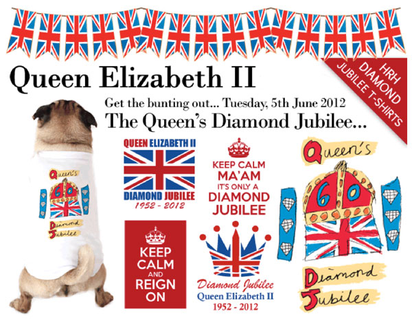 the queen's diamond jubilee dog t-shirts!