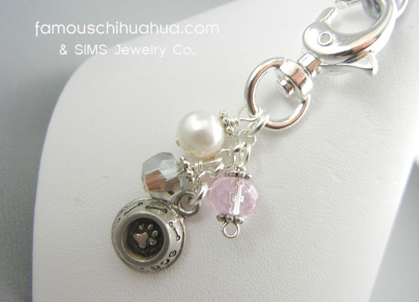 attachable pink cobalt crystal with adorable dog dish pendant