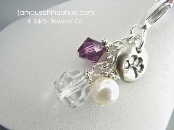 attachable purple crystal with metal dog paw pendant