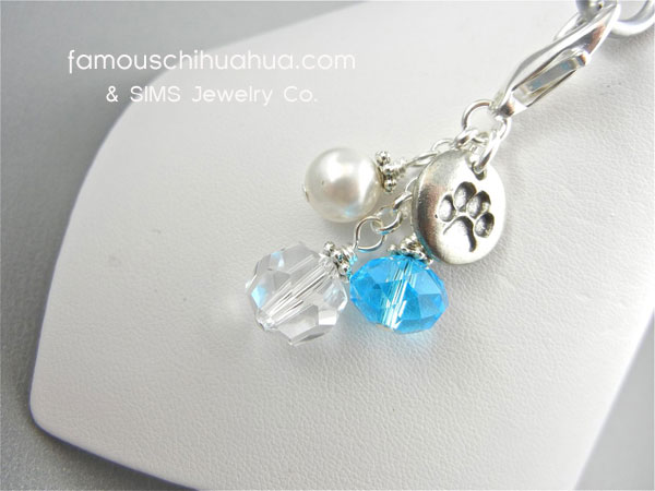 turquoise crystal with metal dog paw charm pendant