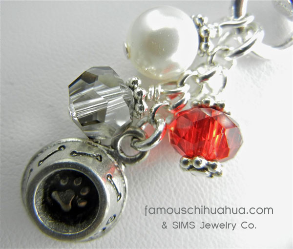 attachable red cobalt crystal with dog dish pendant