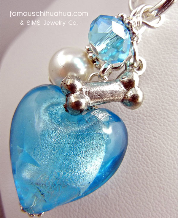 blue turquoise glass heart dog bone pendant