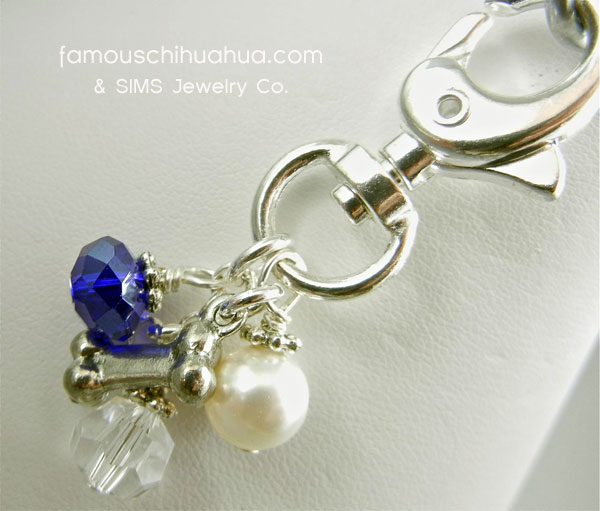 blue cobalt crystal with dog bone attachable pendant