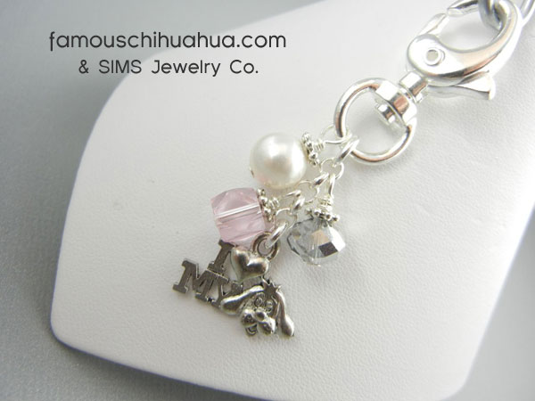 i love my dog pink crystal attachable dog pendant