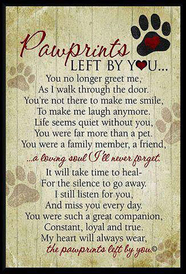 pawprints dog poem