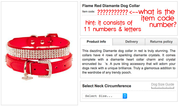 red diamond dog collar