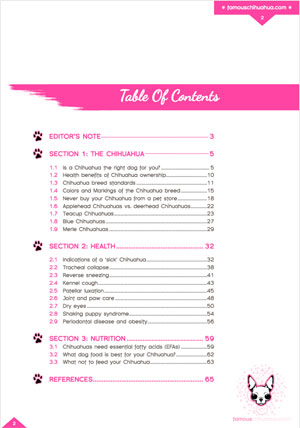 Table of contents Chihuahua book