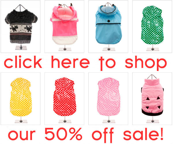 shop our 50% OFF sale on dog clothes