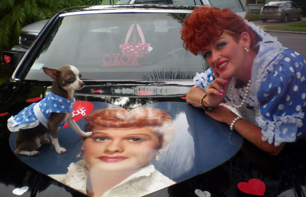 lista as lucille ball with lil bella lucy on their mercedes getting ready to appear in a parade!