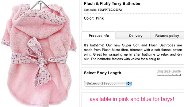 shop for a super-soft flannel-cotton dog bathrobe for your chihuahua!