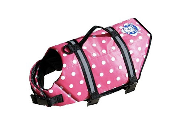 the pink polk-a-dot paws aboard designer life jacket