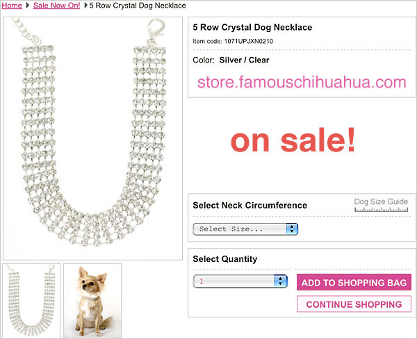 click image of 5 row crystal dog necklace!