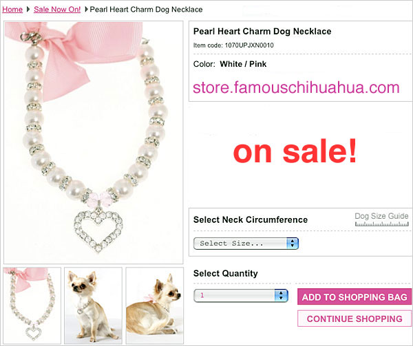 click image of pearl heart charm dog necklace!