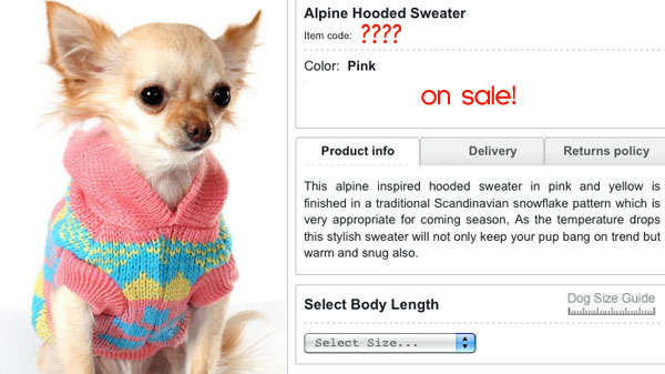 find the item code number for this cute dog sweater! it's on sale!