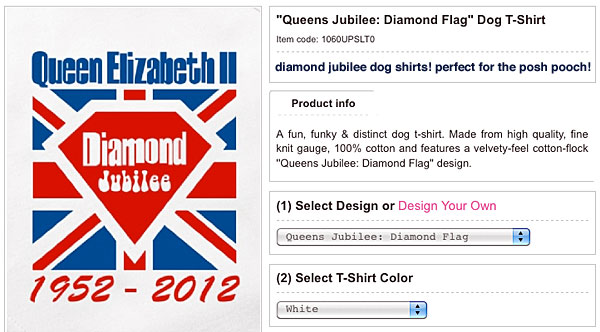 a fun, funky & distinct dog t-shirt. made from high quality, fine knit gauge, 100% cotton and features a velvety-feel cotton-flock queens jubilee: diamond flag design.