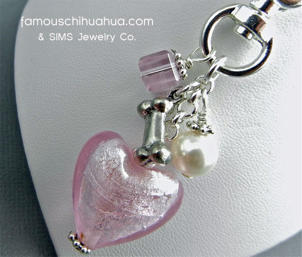 pink glass heart with dog bone pendant