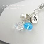 turquoise crystal dog paw pendant