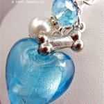 turquoise glass heart dog bone pendant