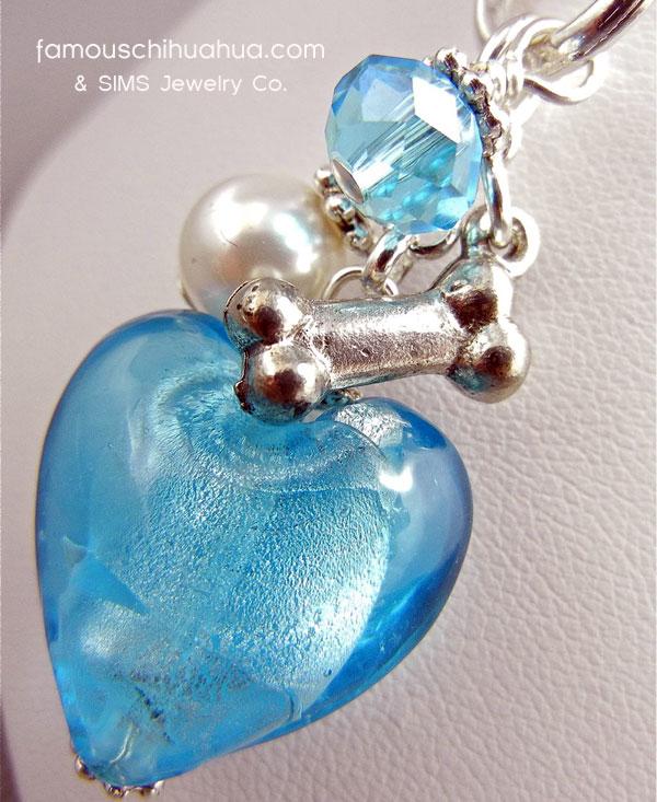 blue turquoise glass heart dog bone pendant