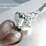 mauve glass heart dog bone pendant