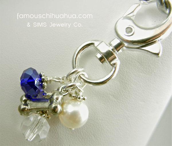 blue cobalt crystal with dog bone attachable pendant