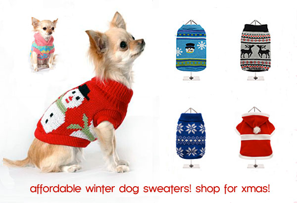 fun holiday dog sweaters! stock up for christmas!
