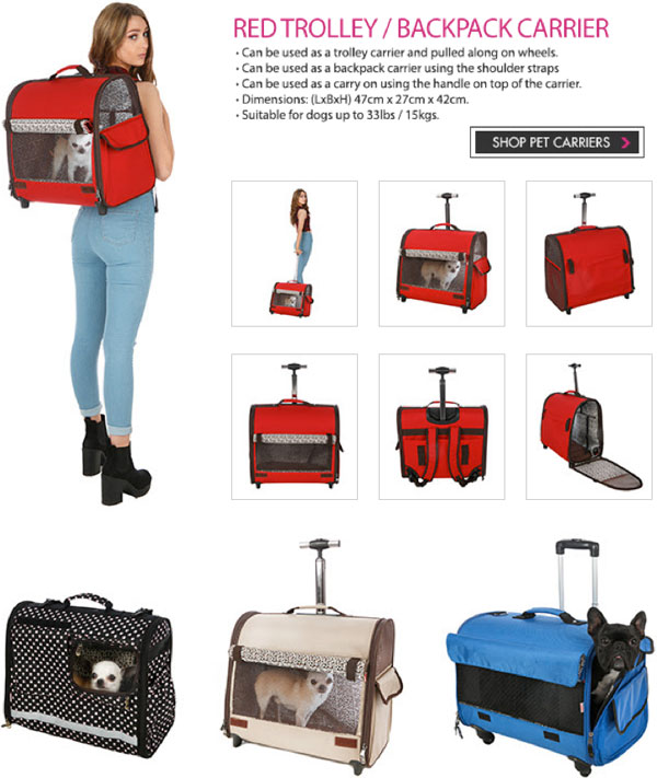 travel pet trolly carrier