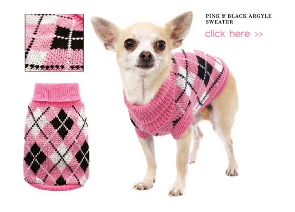 pink and black argyle dog sweater