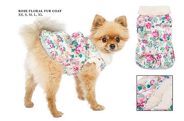 rose floral fur dog coat